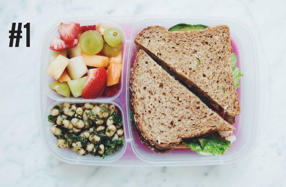 BENTO BOX #1: fried tofu & veg sandwich, white bean pesto salad, and fruit salad