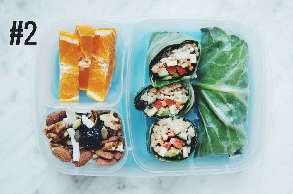 BENTO BOX #2: collard nori rice rolls, trail mix, and orange slices