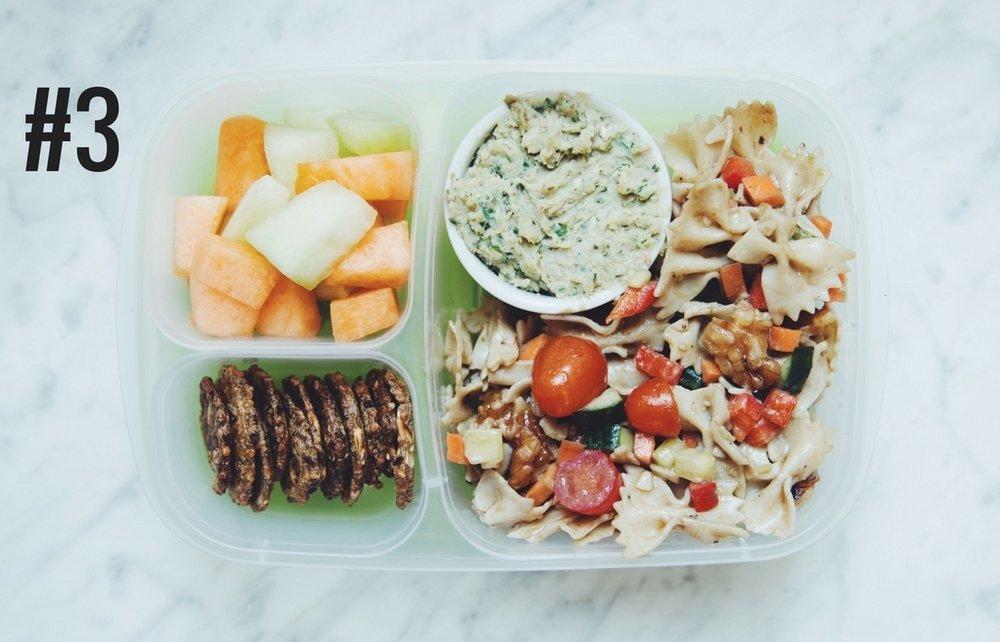 BENTO BOX #3: balsamic pasta salad, white bean pesto dip, crackers, and melon