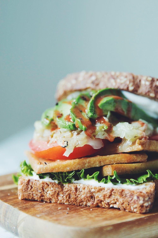 fried tofu sandwich | RECIPE on hotforfoodblog.com