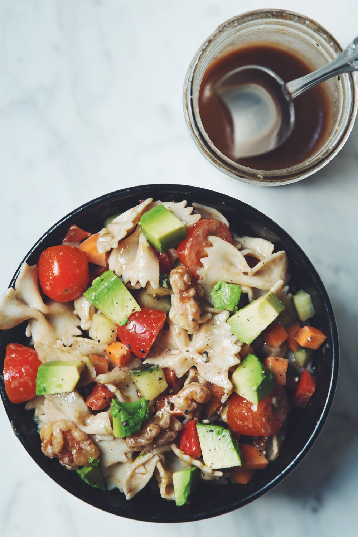 veggie pasta salad with balsamic vinaigrette | RECIPE on hotforfoodblog.com
