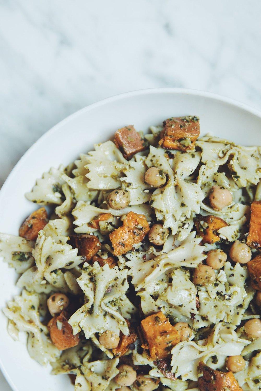 sweet potato pesto pasta salad | RECIPE on hotforfoodblog.com