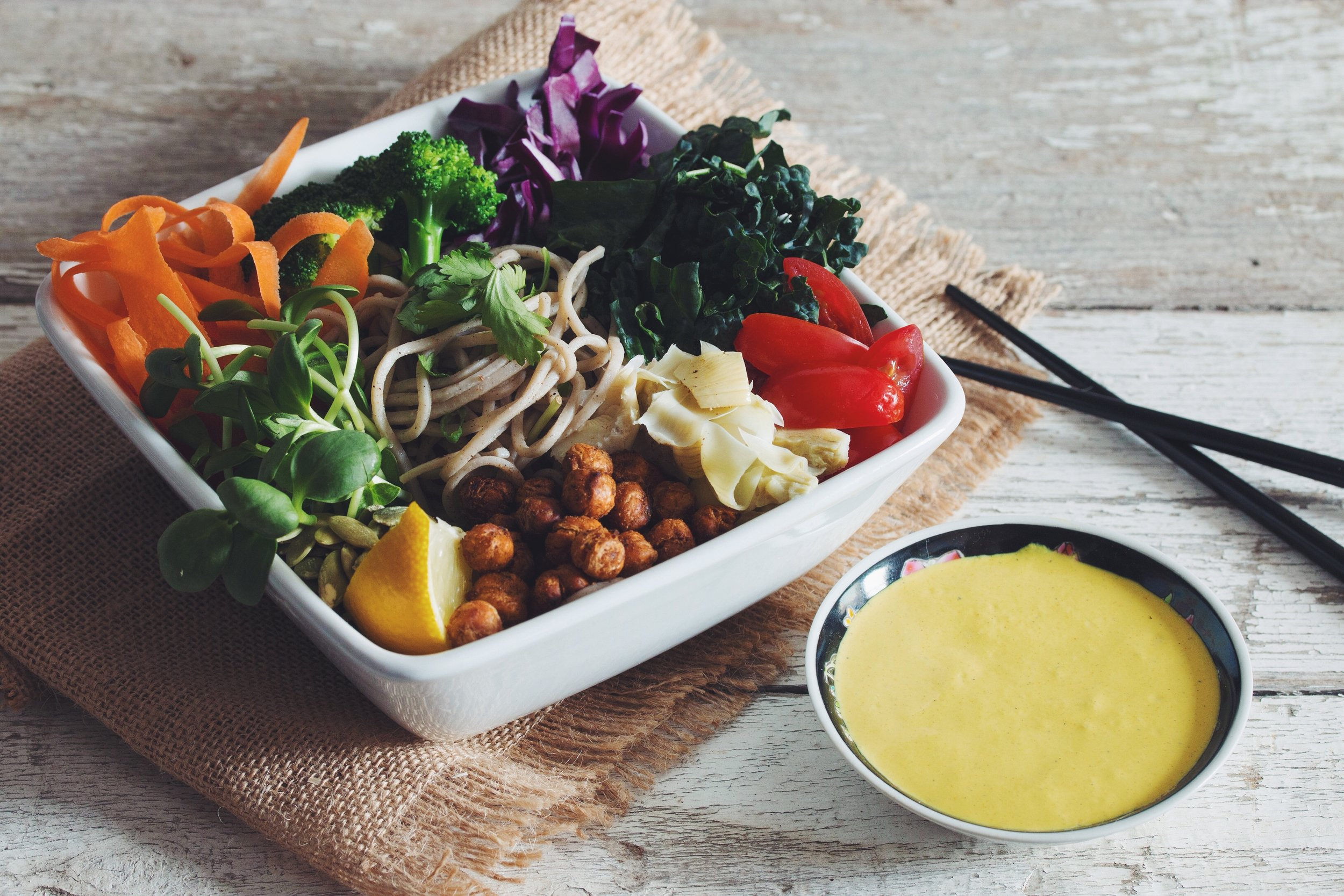 the buddha bowl - the golden miso tahini dressing really makes this bowl shine!