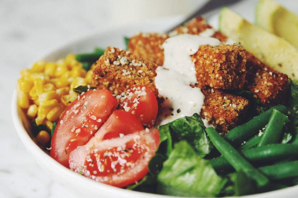 hemp crusted tofu cobb salad
