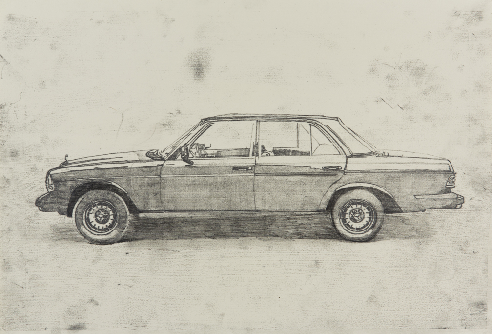 "Drawing of Cars and Trucks from my childhood era, based off photographs from New York City Streets today. Graphite on Rives Paper 13"" x 19""."