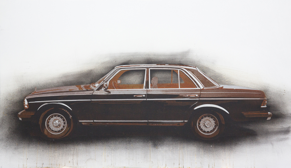 "Mercedes Benz  2013 Rust, charcoal and enamel paint on steel panel. 28""x48"""