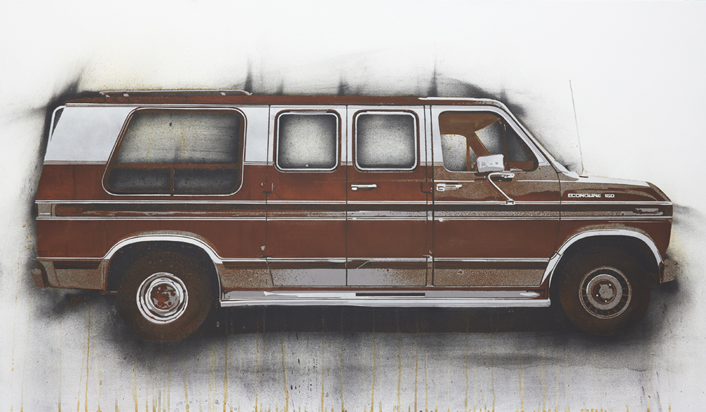 "Econoline  2013 Rust, charcoal and enamel paint on steel panel. 28""x48"""