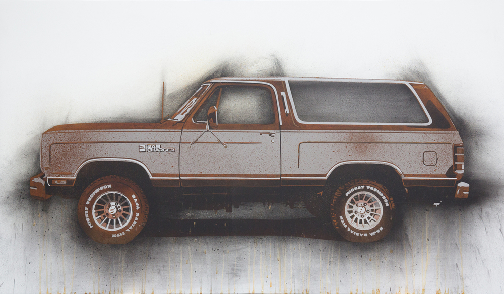 "Ramcharger  2013 Rust, charcoal and enamel paint on steel panel. 28""x48"""