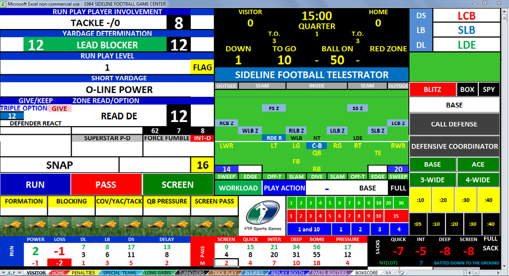 SIDELINE FOOTBALL Computer Game Center Screenshot