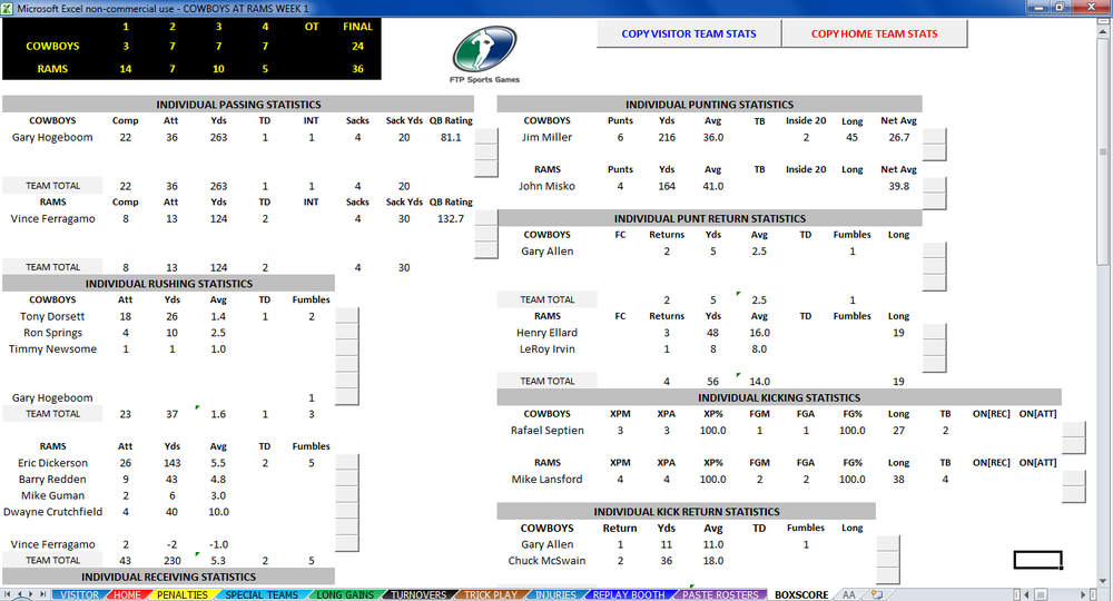 SIDELINE FOOTBALL Statistics Page Screenshot