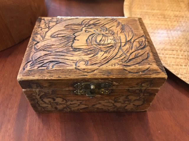 JUST IN Pyrography Art Nouveau jewelry box Xcentric Goods
