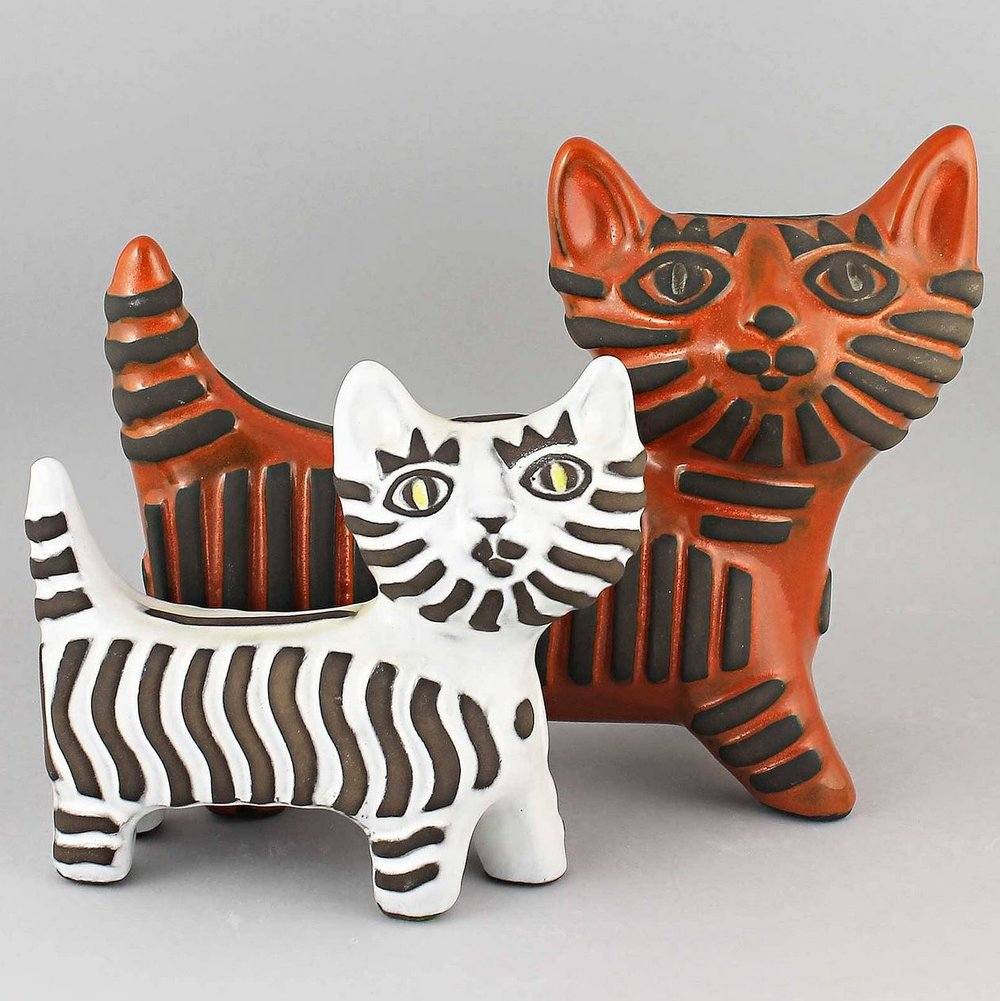 Dorothy Clough Two Mod Cats Orange White A.JPG