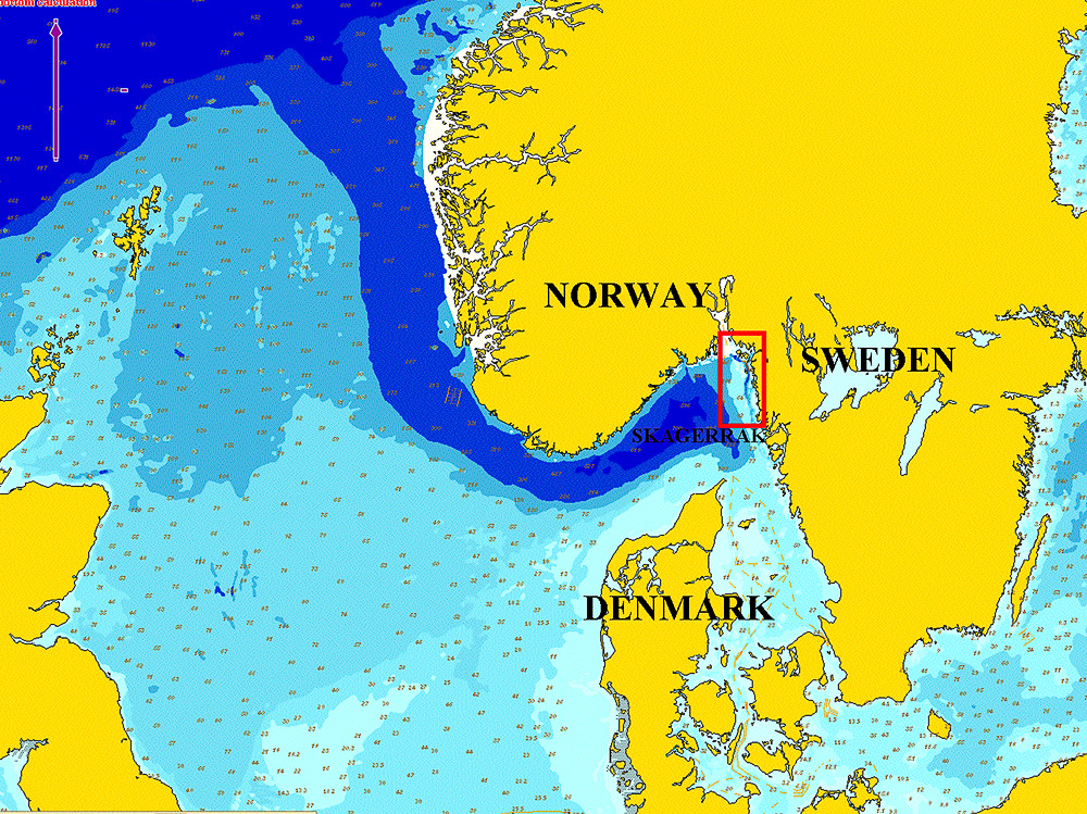 North Sea and Skagerrak - the red rectangle marks out the study area in the northeast Skagerrak and northern Bohuslän. The Norwegian Trench brings deep Atlantic water into the area.