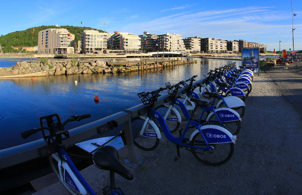 Oslo's City Bikes has installed over 100 bike stations all around the city, operating between 6 am and midnight. All you need to grab a bike and get rolling is an electronic smart card which you can purchase for 100 Kroner ($17.41 U.S.) at the Tourist Information Center located near City Hall.