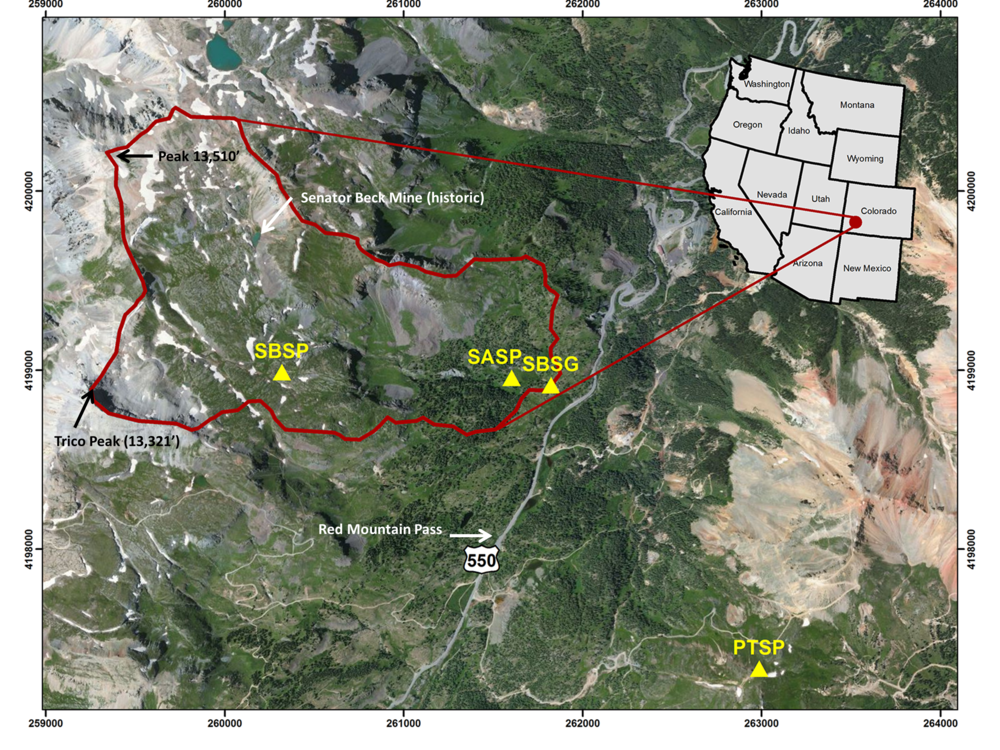 Senator Beck Basin is outlined in red, with the locations of the four study plots in yellow (from left to right): Senator Beck Study Plot (SBSP), Swamp Angel Study Plot (SASP), Senator Beck Stream Gauge (SBSG), Putney Study Plot (PTSP)