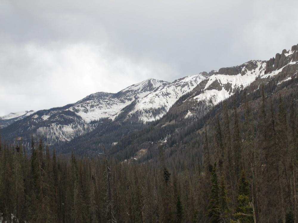 South- and east-facing terrain above US Highway 160 showing dust widely exposed at the snowpack surface.