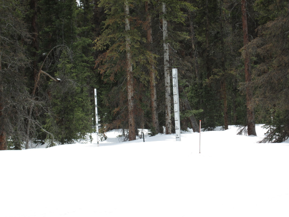 CDOT snow stakes at Slumgullion Pass.  The very shady Slumgullion Snotel is located in thick forest immediately behind these stakes.