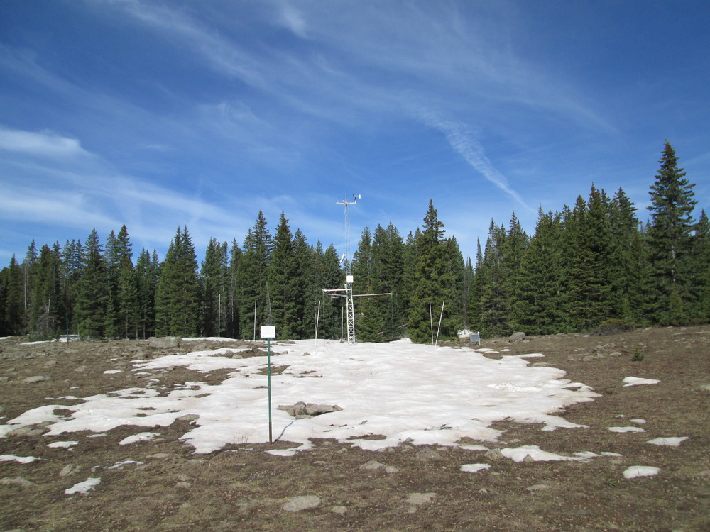 The only snow remaining in the open meadow at the Grand Mesa CODOS site was surrounding the instrument tower, which was specifically located to capture snow albedo measurements in the last bit of snowcover in that open area.  Nearby, but several hundred feet lower, the Mesa Lakes Snotel had recorded 'snow all gone' a few days earlier, on May 30.