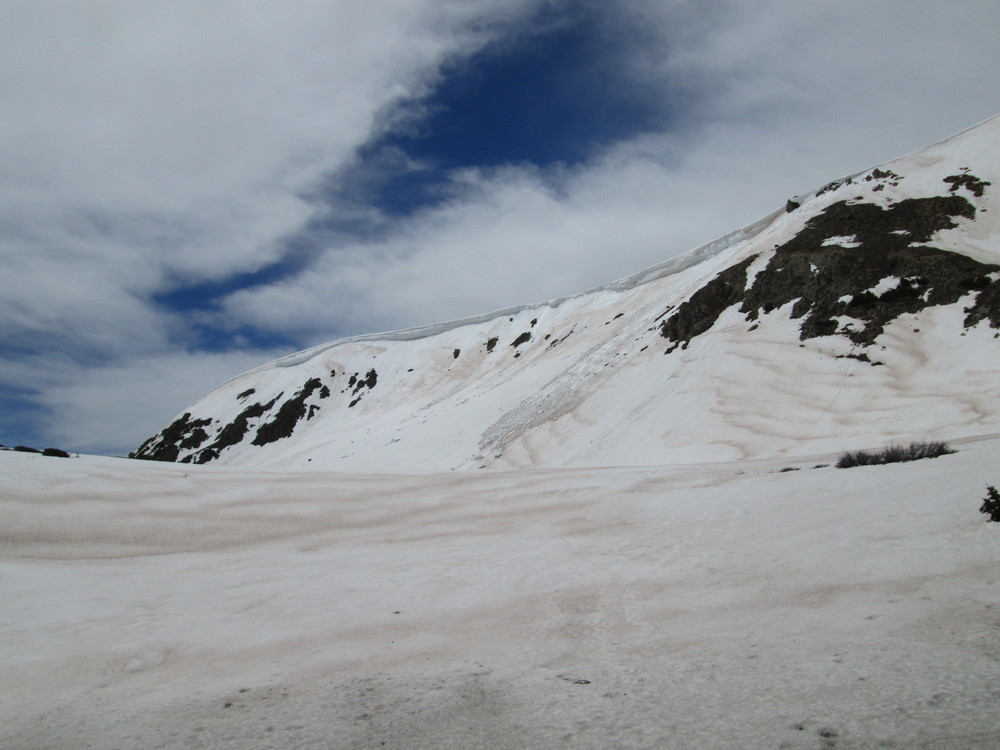 Dust-in-snow was rapidly re-emerging above treeline, here on the west side of Loveland Pass.