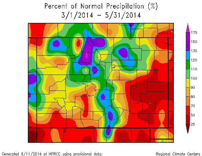 Figure 6: WY 2014 total March, April, and May precipitation in Colorado, as a percentage of station means, based on data from automated weather stations (not including Snotel). From the High Plains Regional Climate Center Web Page: http://www.hprcc.unl.edu.