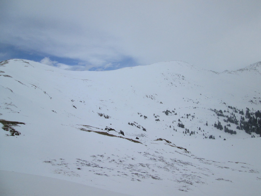 The west side of Loveland Pass on April 21, 2015, still showing areas of thin snowcover that developed earlier in the season despite the recent winter storm.