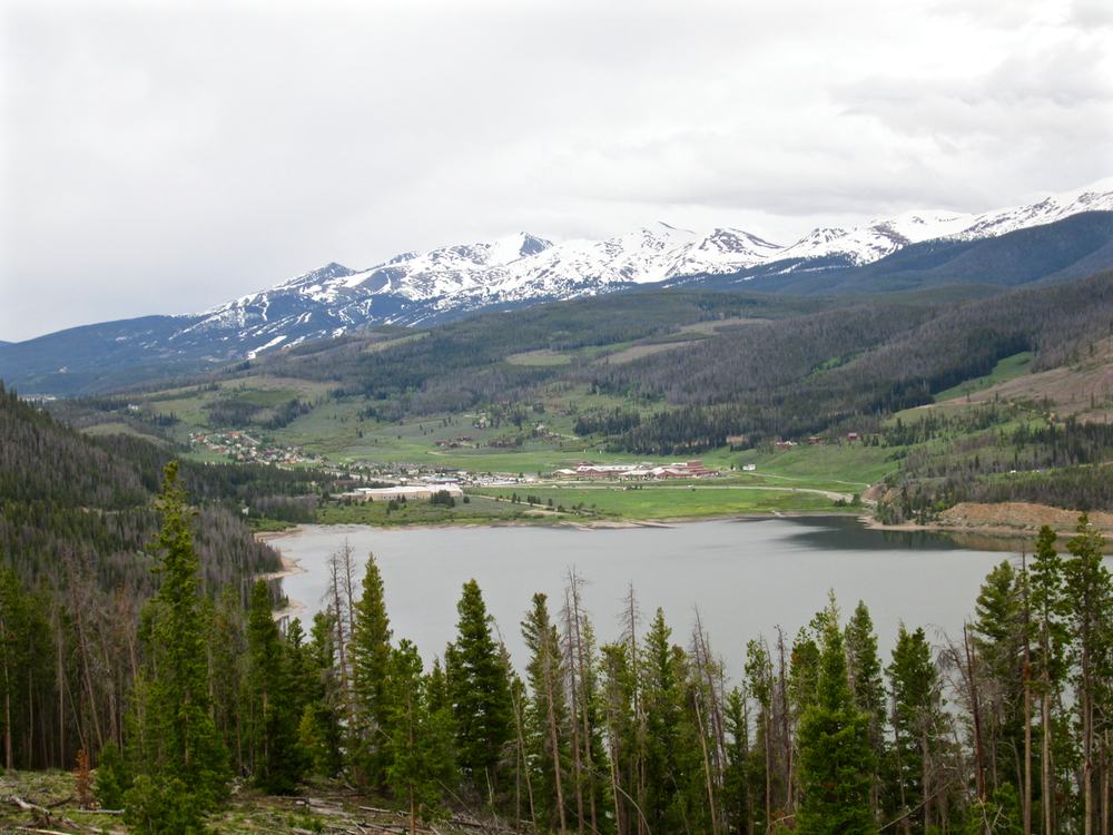 Looking south across the Blue River inlet on Dillon Reservoir at the 10 Mile Range and the Breckenridge ski area in the distance on June 16, 2015