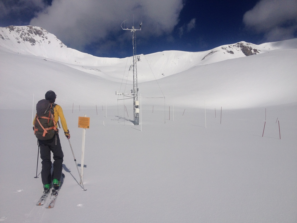 June 7, 2015 at the Senator Beck Study Plot (12,180').  The very high snow albedo seen in this photograph was the norm through most of spring 2015, only deteriorating in subsequent weeks as buried dust layer D3 merged with D2 and D1 emerged, and then with comparatively minor impact.  Photo by Jason Welz for CSAS.