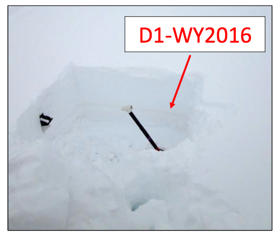 "Photo taken December 19th, the dust layer approximately 16"" below the snowpack surface at the Swamp Angel Study Plot."
