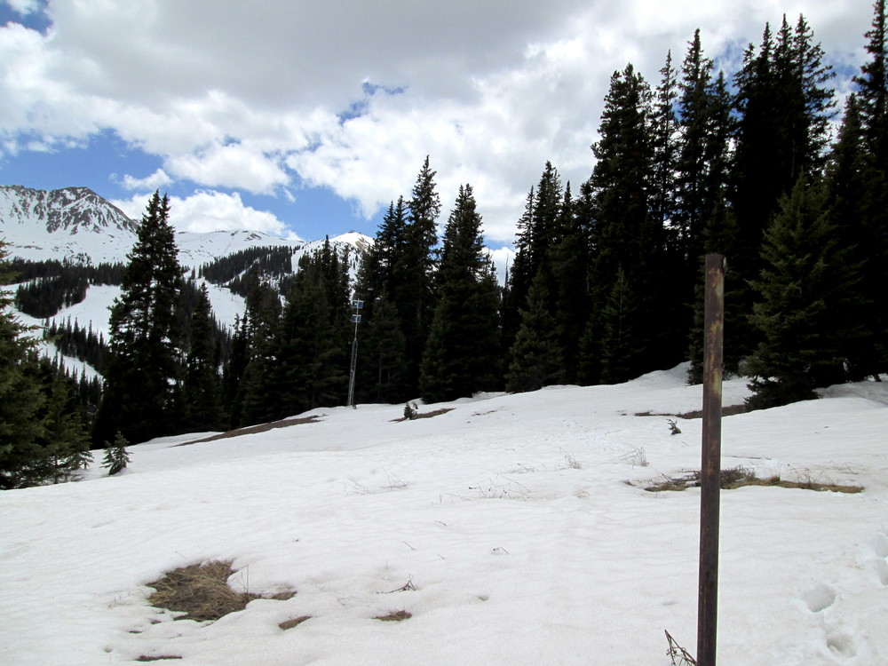 "Picture taken from Grizzly Peak sample site on June 1.  About 1.5' of snow depth (6.6"" of SWE) remains at the CODOS site, located in a clearing a few hundred feet from Grizzly SNOTEL, next to the tower visible in the background.  Grizzly SNOTEL reported 5.4"" of SWE on June 1.  Over the past 8 days since May 26, SWE has decreased a total of 5""."