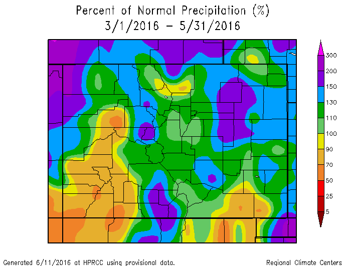 March, April, and May precipitation in Colorado, as a percentage of station means, based on data from automated weather stations (not including SNOTEL) from the High Plains Regional Climate Center Web Page: http://www.hprcc.unl.edu.