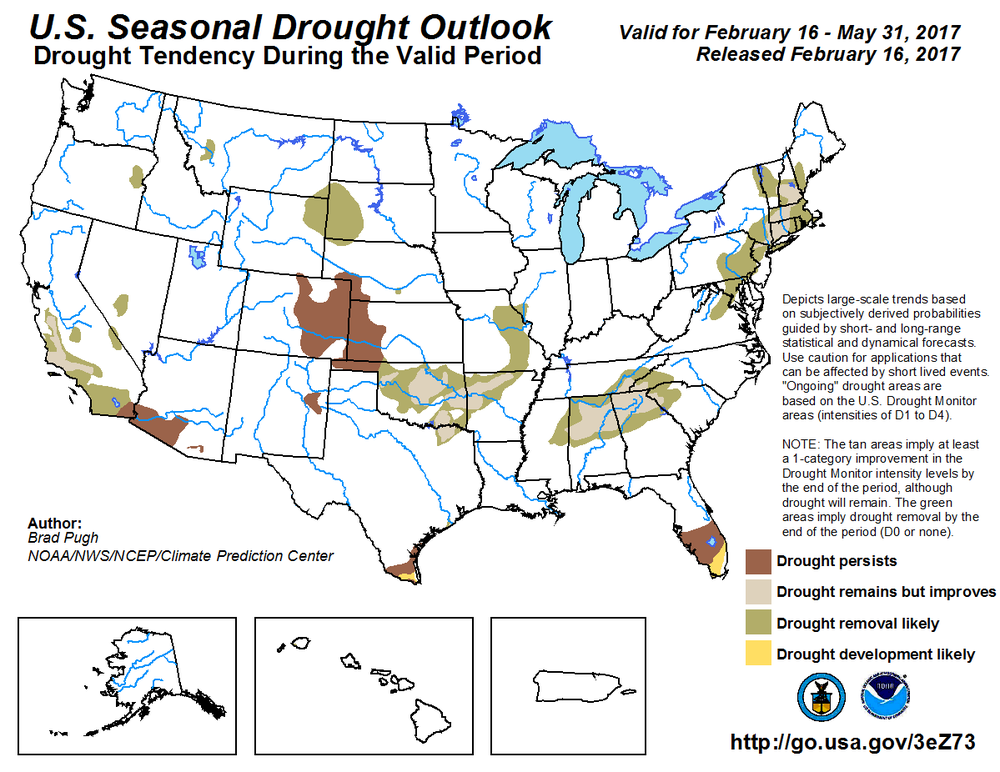 CPC's Seasonal Drought Outlook (below) for February 16 - May 31 indicates the eastern half of Colorado remaining in drought while the western half being drought free.