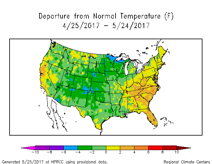 Departure from normal temperature for the last 30 days