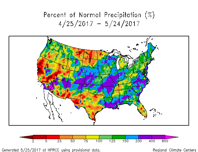 Percent of normal precipitation for the last 30 days