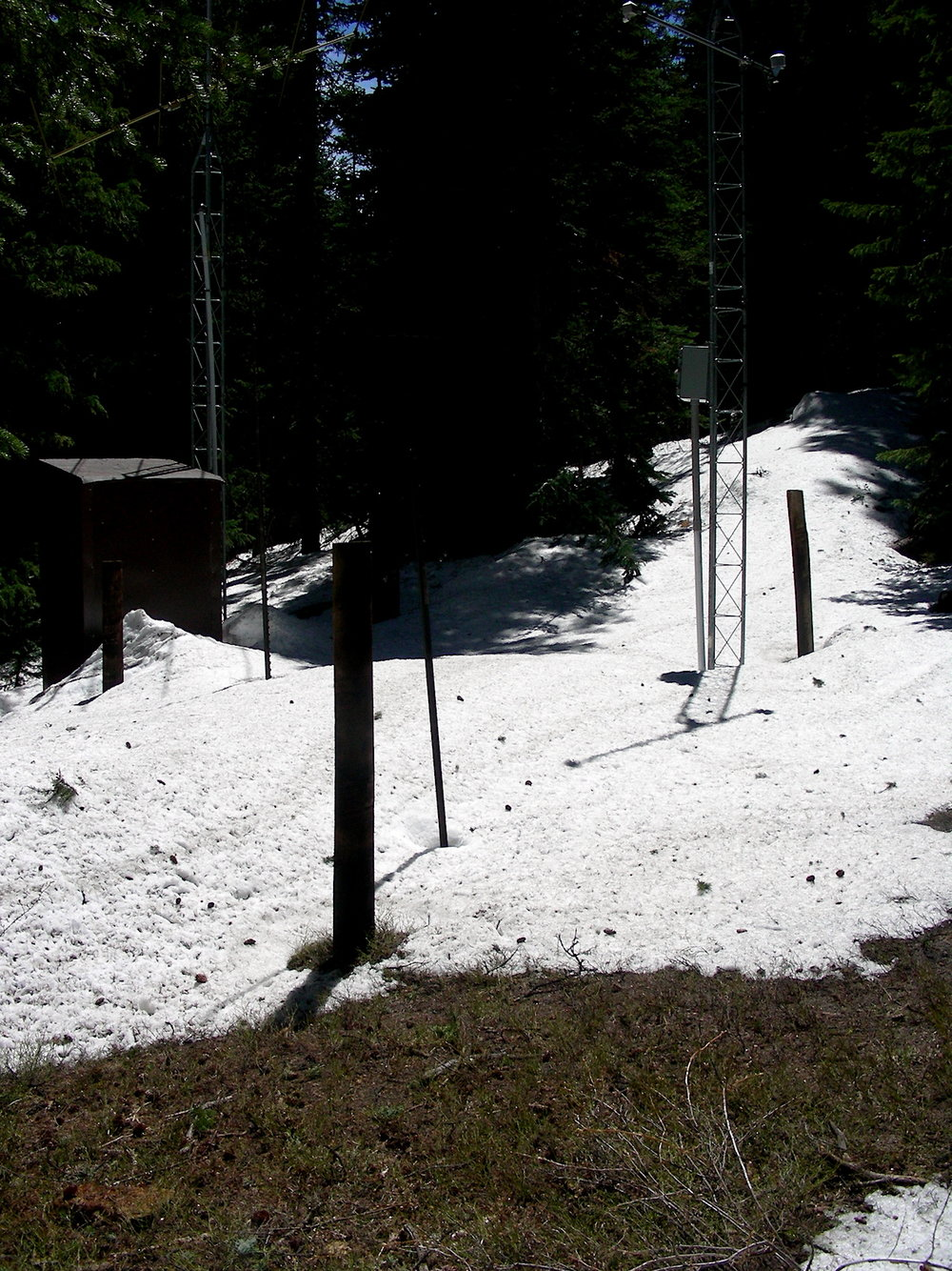 "Grizzly Peak SNOTEL on June 4 near A-Basin, snow pillow under 15"" of snow. On June 5, 12"" of snow.  On June 6, 8"" of snow."
