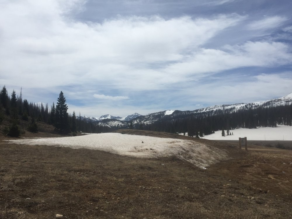Wolf Creek Pass.  Picture captures snow-all-gone conditions on southerly aspects and snow cover still remaining at higher elevations and northerly aspects.