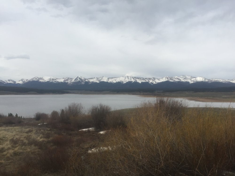 Looking out over Taylor Park Reservoir.  Mid/Lower elevations are melted out but more snow exists in the high country than what is seen in the San Juans.