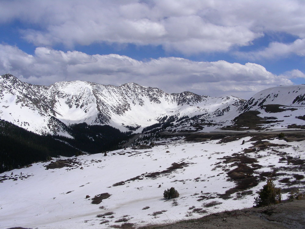 View towards A-Basin ski area from top of Loveland Pass.