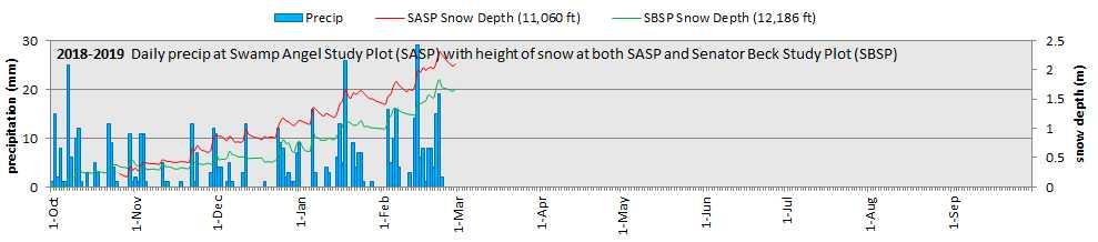 Precipitation at SASP, and snow depth at SASP and SBSP.