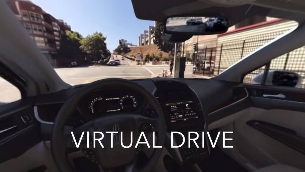 A 360° capture driving through San Francisco, with a CGI car interior.  Click to open 360° video version, click and drag to look around. On mobile, click to use gyro or swipe.