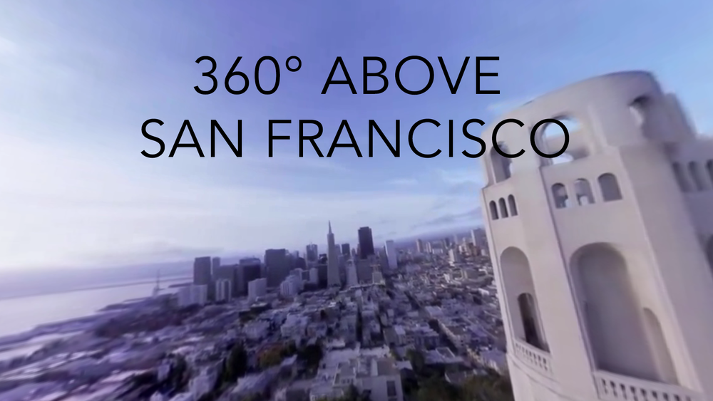 A 360° capture taken above San Francisco with an early version of our rig. Click to open 360° video version, click and drag to look around. On mobile, click to use gyro or swipe.