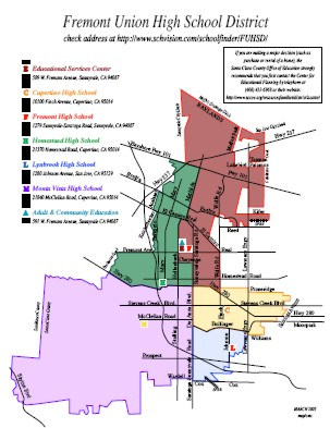 Image of Fremont Union High School District Boundary Map