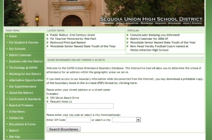 Image of Sequoia High School District Web Site