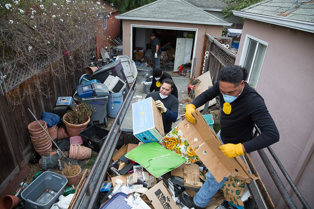 Multiple truckloads of junk were removed from the home with the help of our hauling crew.