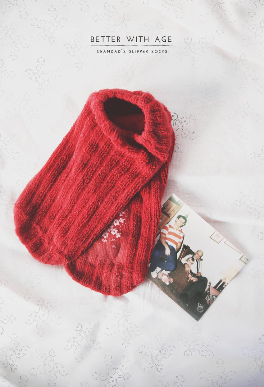 red slipper socks snowflakes