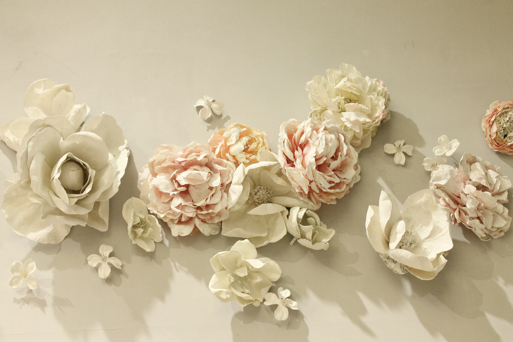 plaster flower wall installation