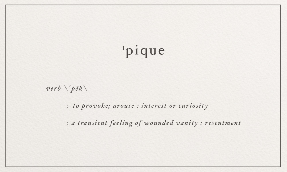 pique \ pek \ to provoke; arouse (interest or curiosity) | image via: bekuh b.