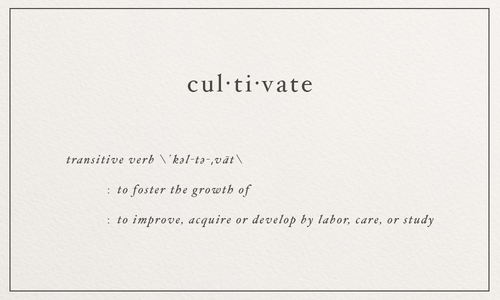 cultivate \´kəl-tə-,vāt\ to improve, acquire or develop by labor, care, or study | image via: bekuh b.
