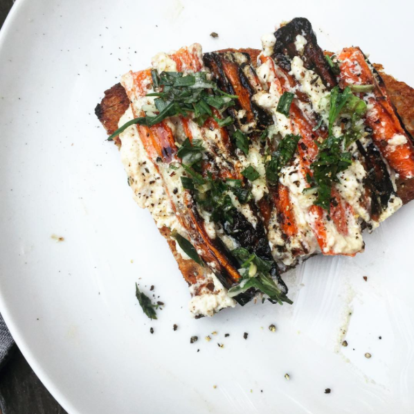 summer CSA carrot & ricotta tartine | via: bekuh b.