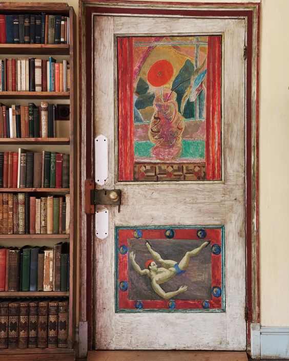 Painted door by Duncan Grant in the study of Clive Bell in the Charleston House by the Bloombury Group | via: chatham st. house