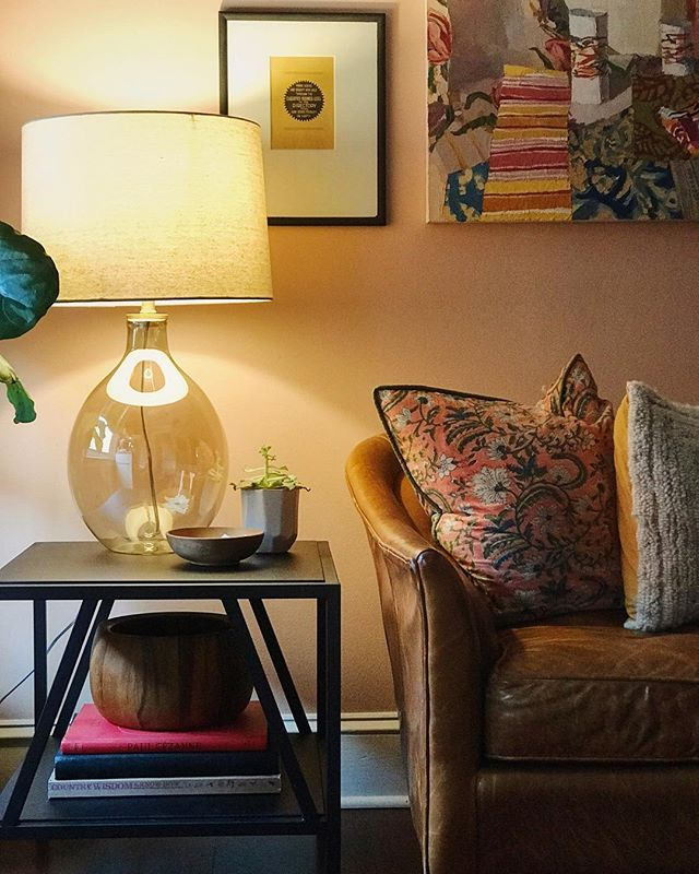 """This little corner is a bright spot on a chilly day. Working on finishing touches to make our """"new"""" living room feel just right. #chathamsthouse"""